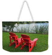 Two Red Chairs Overlooking Lake Formosa Weekender Tote Bag
