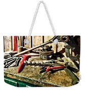Two Red Wrenches On Plumber's Workbench Weekender Tote Bag