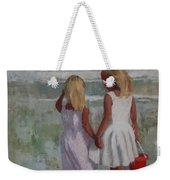 Two Sisters And Red Bucket Weekender Tote Bag