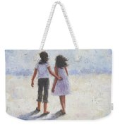 Two Sisters Walking Beach Weekender Tote Bag