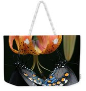 Two Spicebush Swallowtail Butterflies On A Turks Cap Lily Weekender Tote Bag