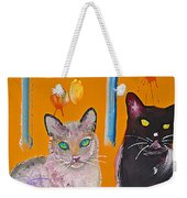 Two Superior Cats With Wild Wallpaper Weekender Tote Bag