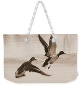Two Winter Ducks In Flight Weekender Tote Bag