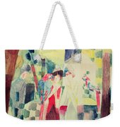 Two Women And A Man With Parrots Weekender Tote Bag