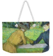 Two Women Leaning On A Gate Weekender Tote Bag by Edgar Degas