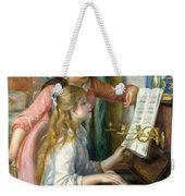 Two Young Girls At The Piano, 1892  Weekender Tote Bag