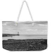 Tynemouth Pier Landscape In Monochrome Weekender Tote Bag
