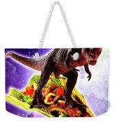Tyrannosaurus Rex Dinosaur Riding Taco In Space Weekender Tote Bag