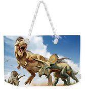 Tyrannosaurus Rex Fighting With Two Weekender Tote Bag by Mohamad Haghani