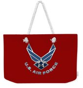 U. S. Air Force  -  U S A F Logo On Red Leather Weekender Tote Bag