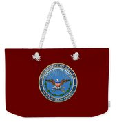 U. S. Department Of Defense - D O D Emblem Over Red Velvet Weekender Tote Bag