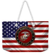 U. S.  Marine Corps - C O And Warrant Officer E G A Special Edition Over U. S.  Flag Weekender Tote Bag
