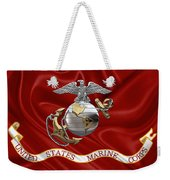 U. S.  Marine Corps - C O And Warrant Officer Eagle Globe And Anchor Over Corps Flag Weekender Tote Bag