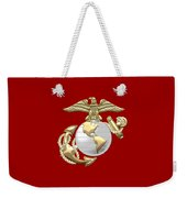 U. S. Marine Corps Eagle Globe And Anchor - E G A On Red Leather Weekender Tote Bag