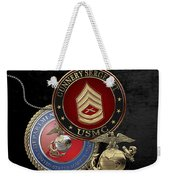 U. S. Marine Gunnery Sergeant Rank Insignia Over Black Velvet Weekender Tote Bag