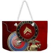 U. S.  Marines Corporal Rank Insignia Over Red Velvet Weekender Tote Bag