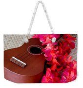 Ukulele And Red Flower Lei Weekender Tote Bag