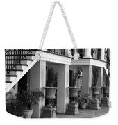 Under The Steps In Savannah - Black And White Weekender Tote Bag