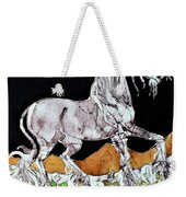 Unicorn Over Flower Field Weekender Tote Bag by Carol  Law Conklin
