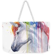 Unicorn Rainbow Watercolor Weekender Tote Bag by Olga Shvartsur