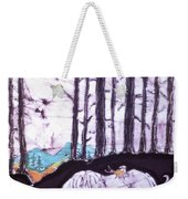 Unicorn Rests In The Forest With Fox And Bird Weekender Tote Bag