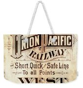 Union Pacific Railroad - Gateway To The West  1883 Weekender Tote Bag