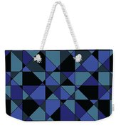 Unique Bold Hip Blue Cyan Grey Black Geometric Pattern Weekender Tote Bag