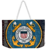 United States Coast Guard Logo Recycled Vintage License Plate Art Weekender Tote Bag