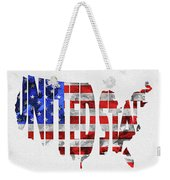 United States Typographic Map Flag Weekender Tote Bag