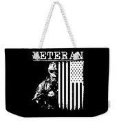 United States Veteran Flag And Soldier Weekender Tote Bag
