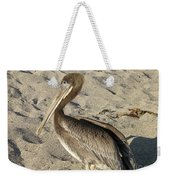 Up Close With A Pelican On A Sand Beach Weekender Tote Bag