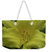 Up-close With A Very Bright Yellow Daylily Flower Weekender Tote Bag