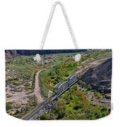 Up Tracks Cross The Mojave River Weekender Tote Bag by Jim Thompson
