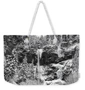 Upper Falls In Snow's Cover Weekender Tote Bag