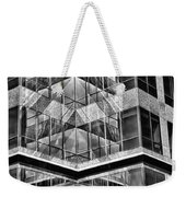 Urban Abstract - Mirrored High-rise Building In Black And White Weekender Tote Bag