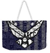 Us Air Force Logo Recycled Vintage License Plate Art Weekender Tote Bag