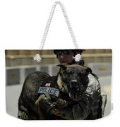 U.s. Air Force Soldier Giving Weekender Tote Bag by Stocktrek Images