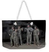 U.s. Army Crew Chiefs Pose In Front Weekender Tote Bag