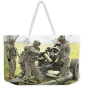 U.s. Army Soldier Throws A Spent 105mm Weekender Tote Bag