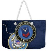 U.s. Coast Guard Petty Officer Second Class - Uscg Po2 Rank Insignia Over Blue Velvet Weekender Tote Bag