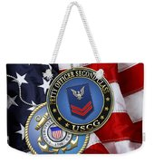 U. S. Coast Guard Petty Officer Second Class - Uscg Po2 Rank Insignia Over Us Flag Weekender Tote Bag