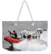 U.s. Coast Guardsmen Aboard A Security Weekender Tote Bag