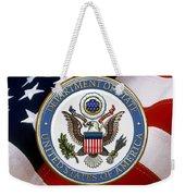 U. S. Department Of State - Dos Emblem Over U.s. Flag Weekender Tote Bag
