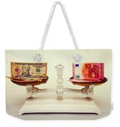 U.s. Dollar And Euro Banknotes On A Pair Of Scales In Vienna Weekender Tote Bag