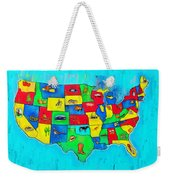 Us Map With Theme  - Free Style -  - Da Weekender Tote Bag