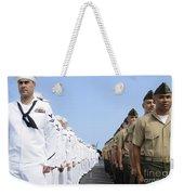 U.s. Marines And Sailors Stand Weekender Tote Bag