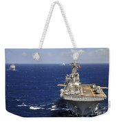 Uss Boxer Leads A Convoy Of Ships Weekender Tote Bag