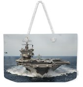 Uss Enterprise Transits The Atlantic Weekender Tote Bag by Stocktrek Images