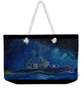 Uss Truxtun Dlgn-35 A Nuclear-powered Cruiser At Sea At Night Under The Milky Way Weekender Tote Bag