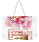 Valentino Pink With Peony Weekender Tote Bag